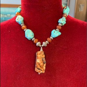 Jewelry - Necklace w/aggregate Jasper, turquoise and brown